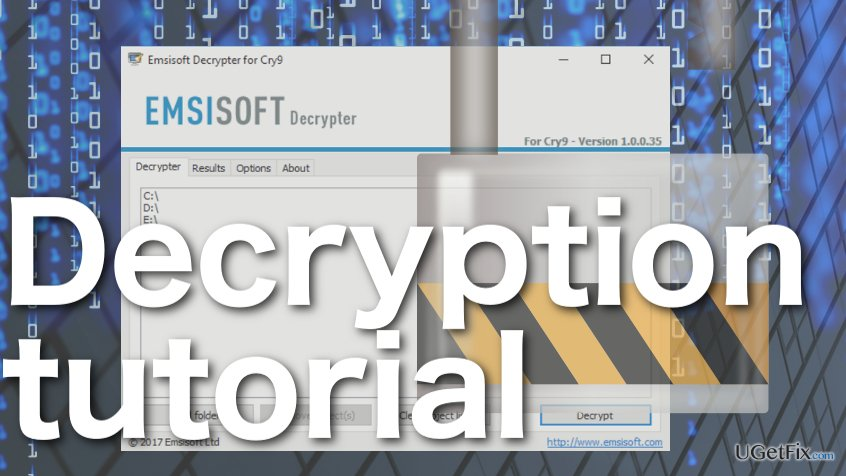 How to recover files encrypted by Cry9 using Emsisoft Decrypter?