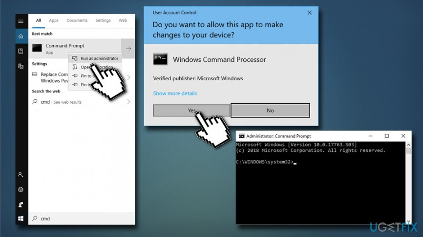 Enter Command Prompt to use DISM