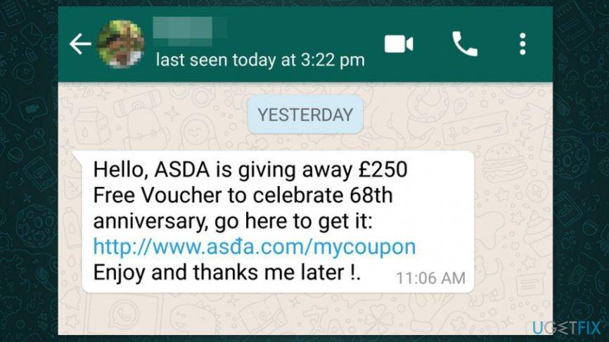 Screenshot of WhatsApp scam