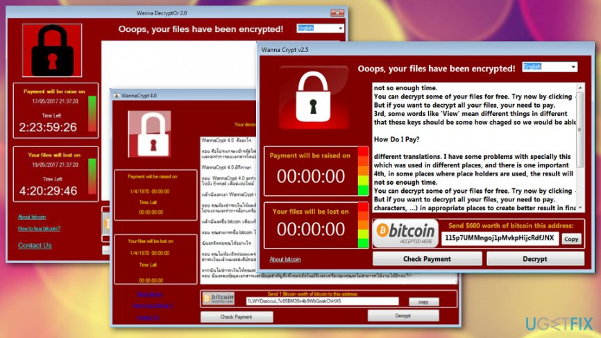 WannaCry versions