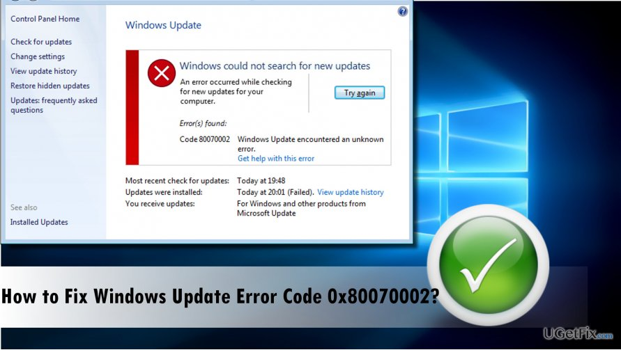 a picture of the windows update error 0x80070002