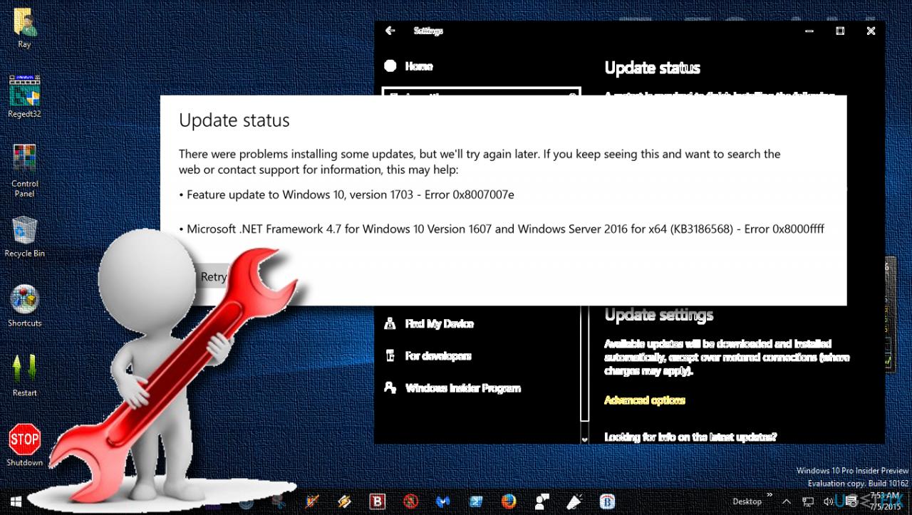 showing 0x8007007e error during Windows Update process