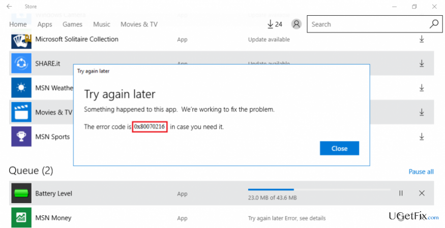 fix 0x80070216 error on Windows Store
