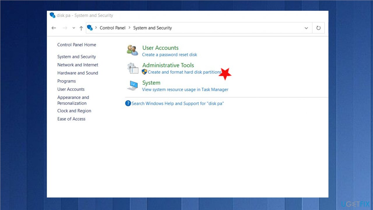 Disk partition option