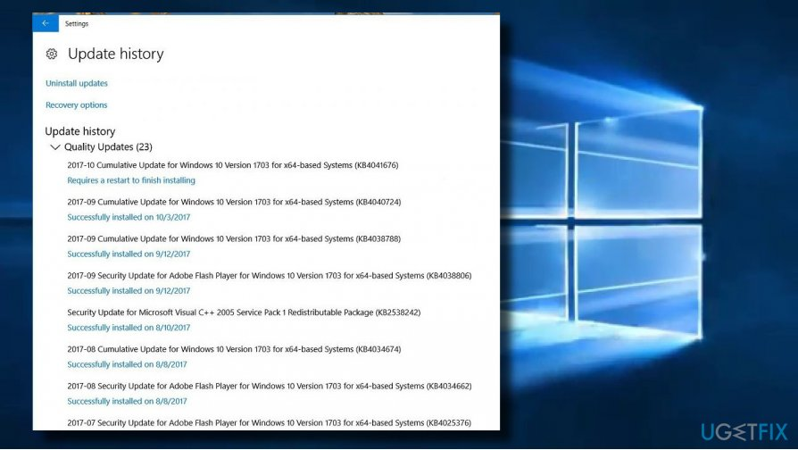 update for windows 10 version 1709 for x64-based systems error