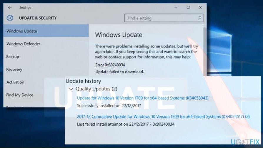 How to fix Windows Update error 0x80240034?
