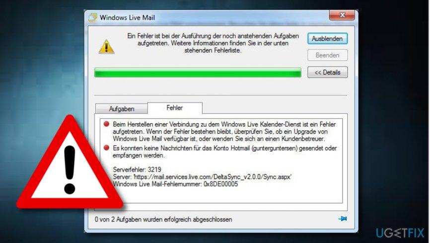 Fix Live Mail Error 3219 Followed by 0x8DE00005 error message