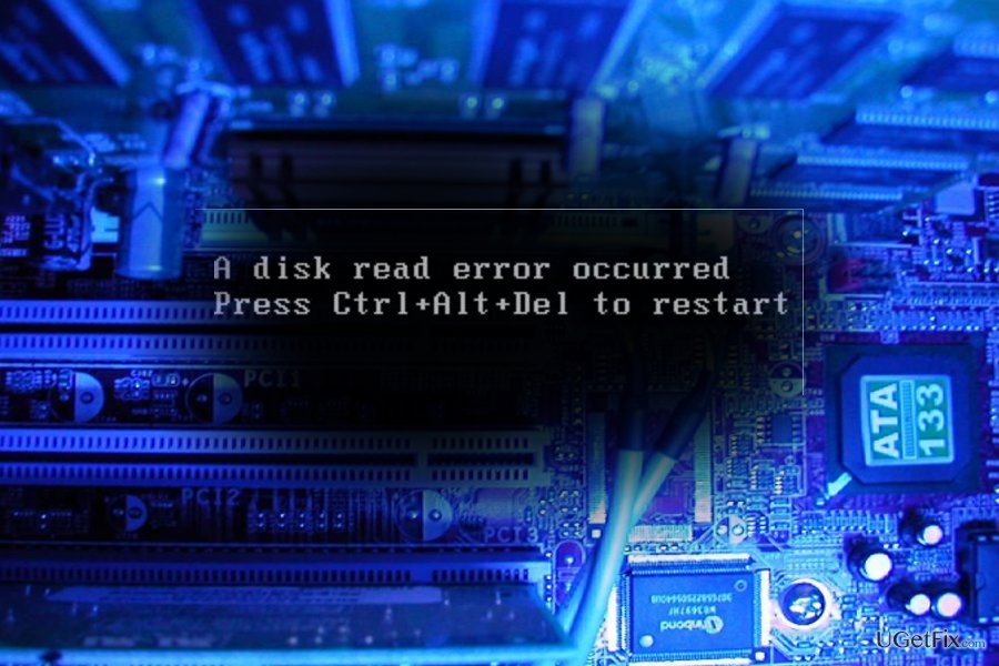 "The screenshot of ""A disk read error occurred. Press Ctrl+Alt+Del to restart"" error"