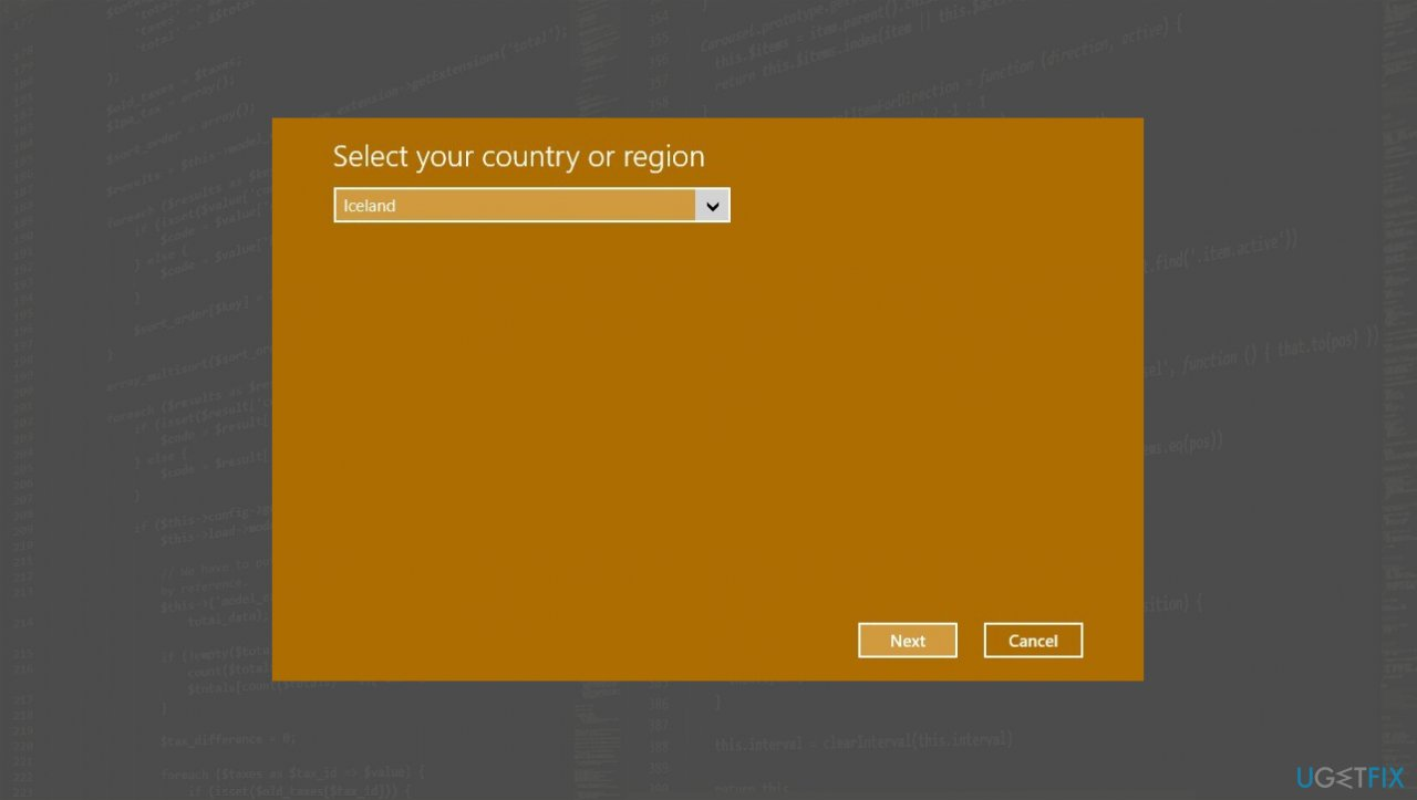 Region/Country options