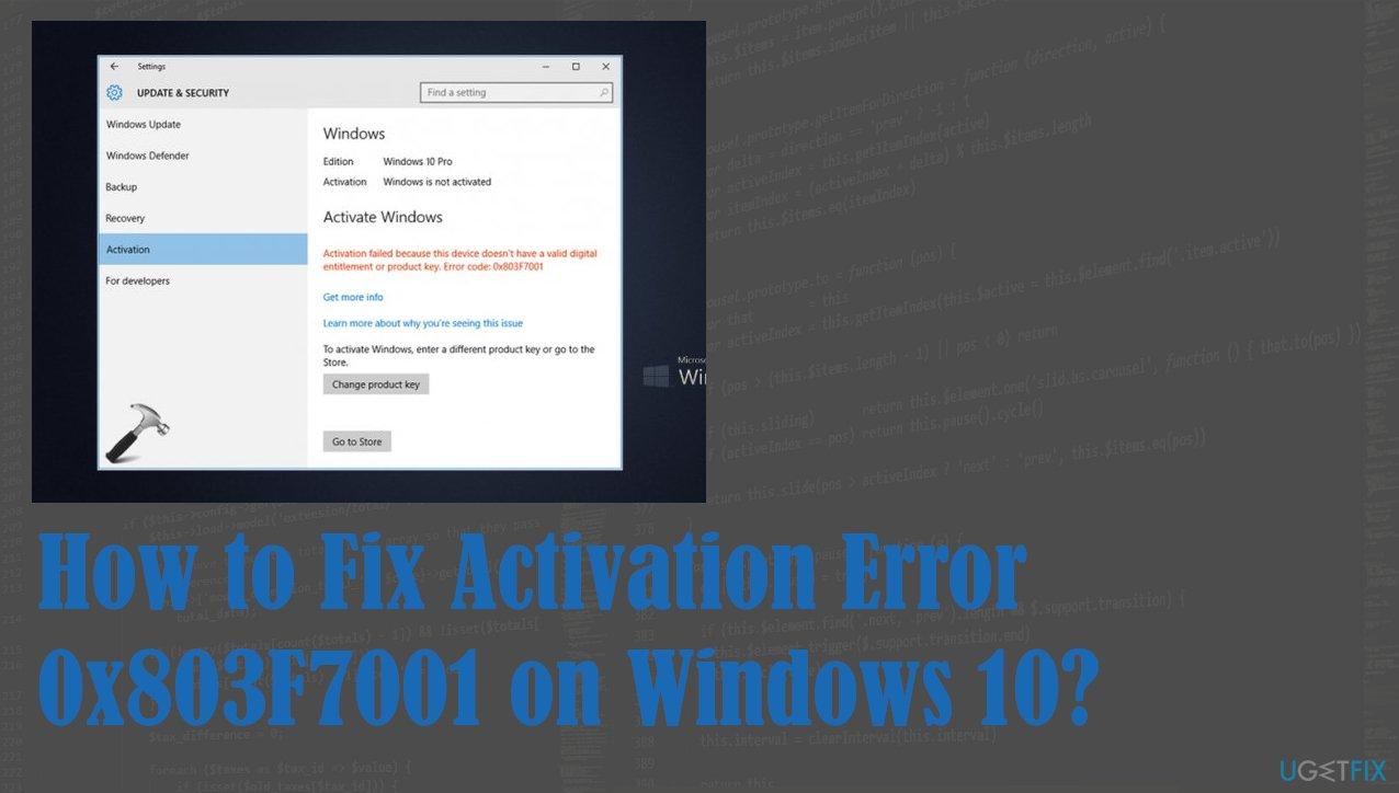 Activation Error 0x803F7001