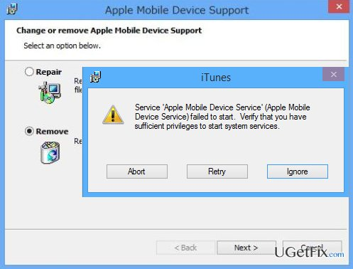 How to fix Apple Mobile Device Failed to Start error?
