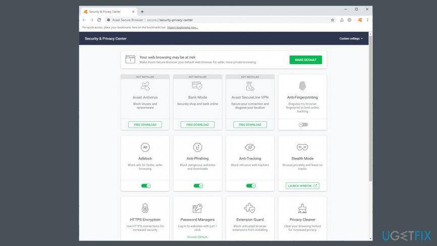 Avast Secure Browser features