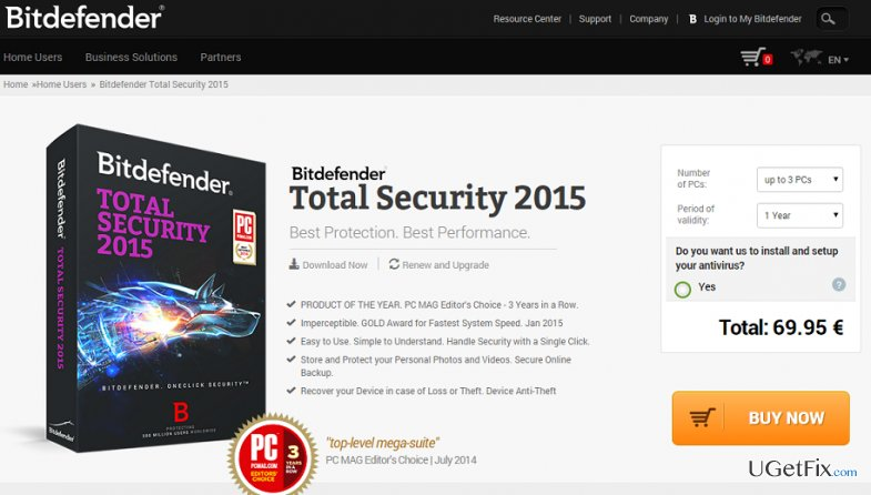 How to uninstall BitDefender Total Security 2015 from Windows OS?