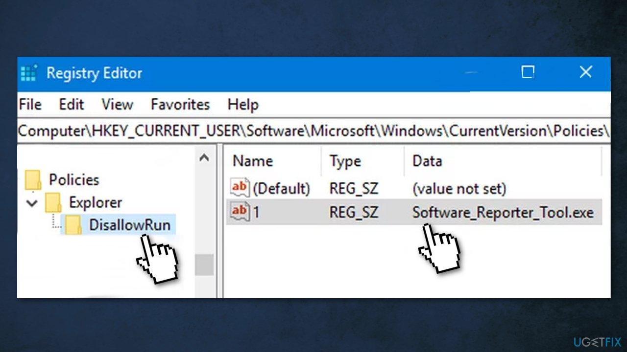 Block the Execution of Software Reporter Tool with aDisallowRun Key