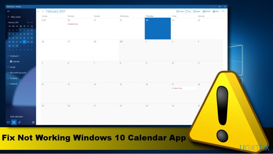 Showing Windows 10 Calendar app