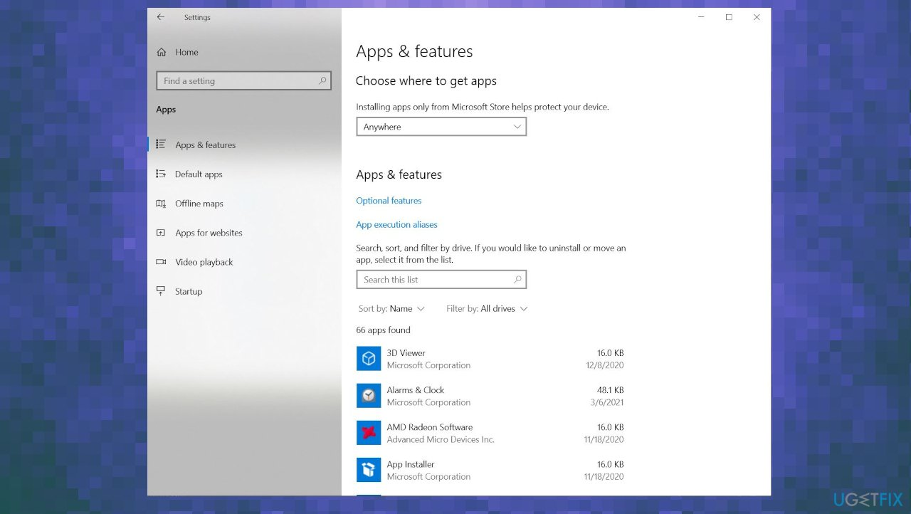 Apps & Features section
