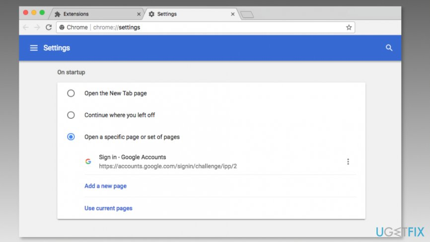 Change Chrome's homepage address