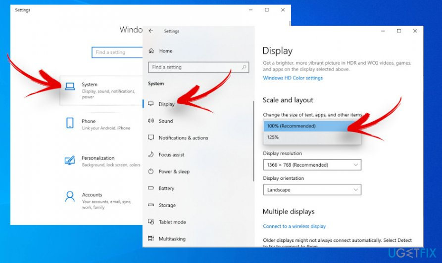Modifying Display settings