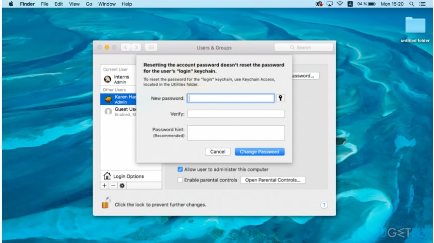 Use another account to reset the password on mac