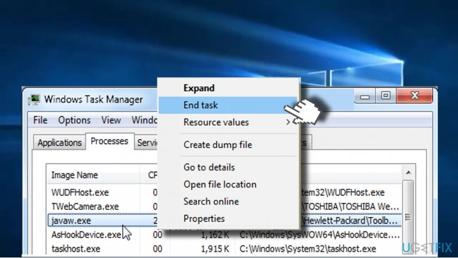 Check javaw.exe CPU usage in Task Manager