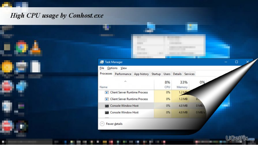 showing Conhost.exe process in Task Manager