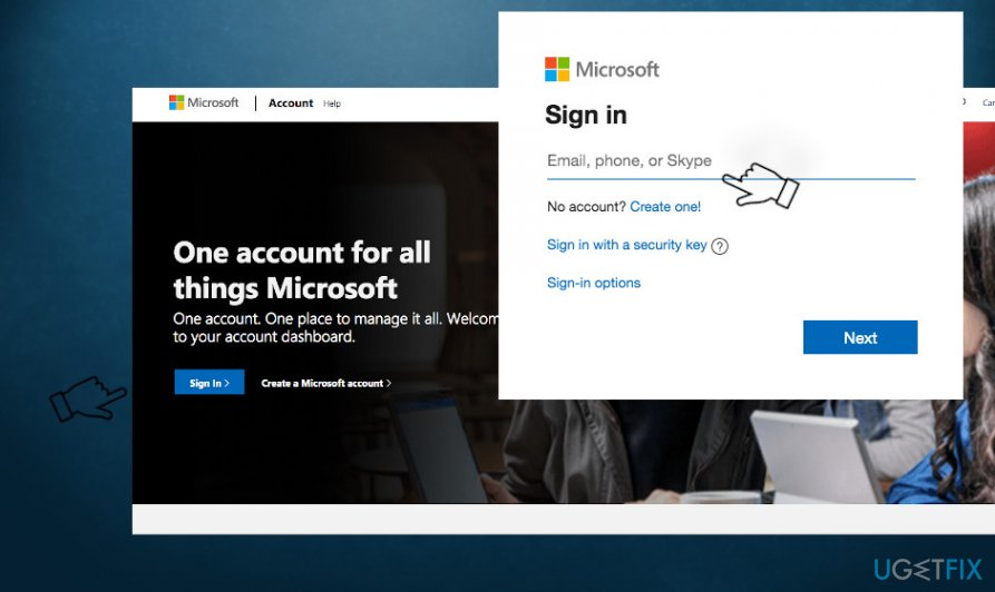 Connect to official microsoft website
