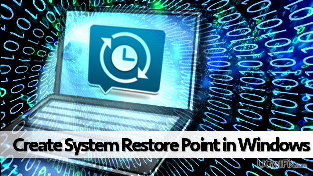 Creating system restore point in Windows