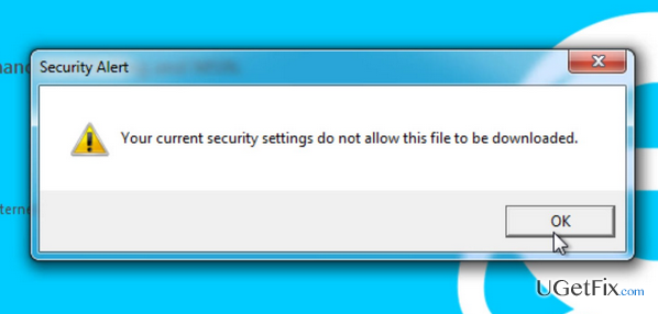 Server 2012 > ie error > security settings don't allow download.