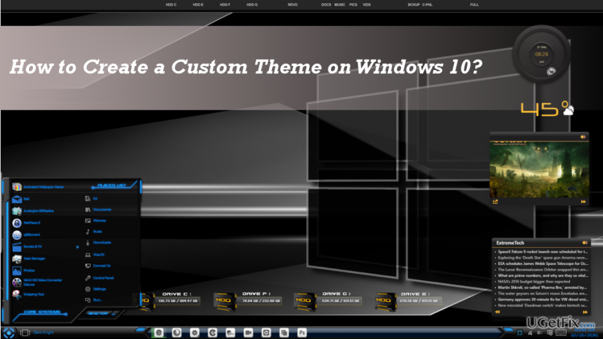 an example of a custom theme in Windows 10