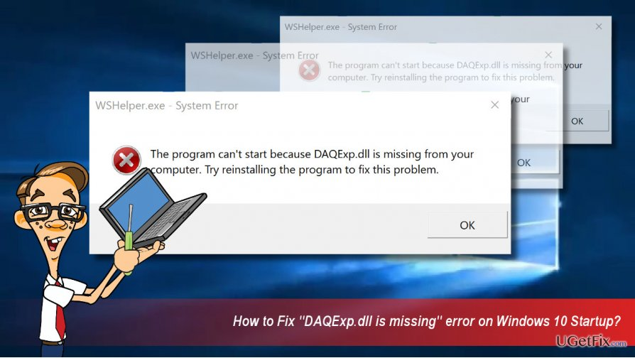 """Daqexp.dll is missing"" error illustration"
