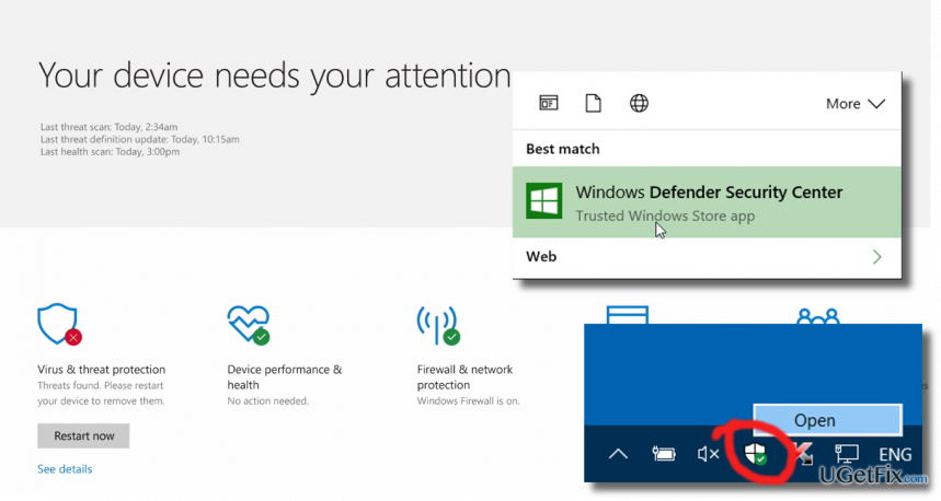 delete Windows Defender Security Center icon