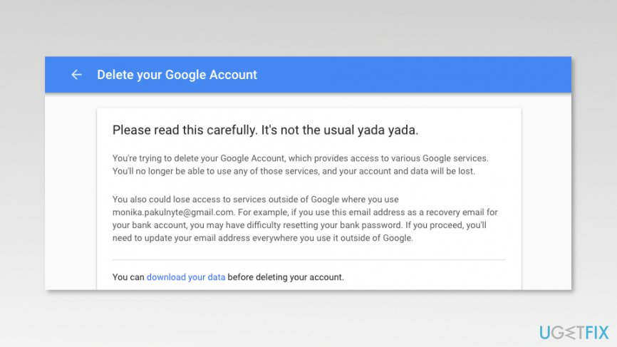 Delete Your Google Account page