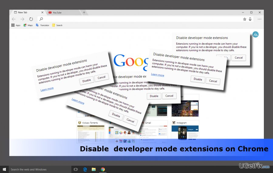 "an example of ""Disable Developer Mode Extensions"" pop-ups"