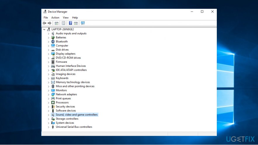 Find your audio driver in the Device Manager