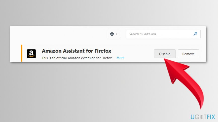 Disable Amazon Assistant extension on Firefox