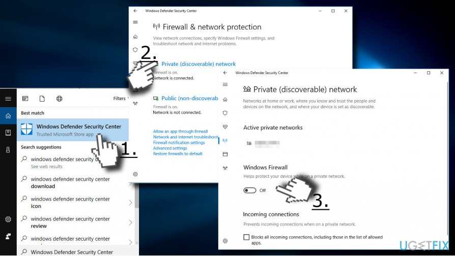 Disable antivirus and Windows Firewall temporarily