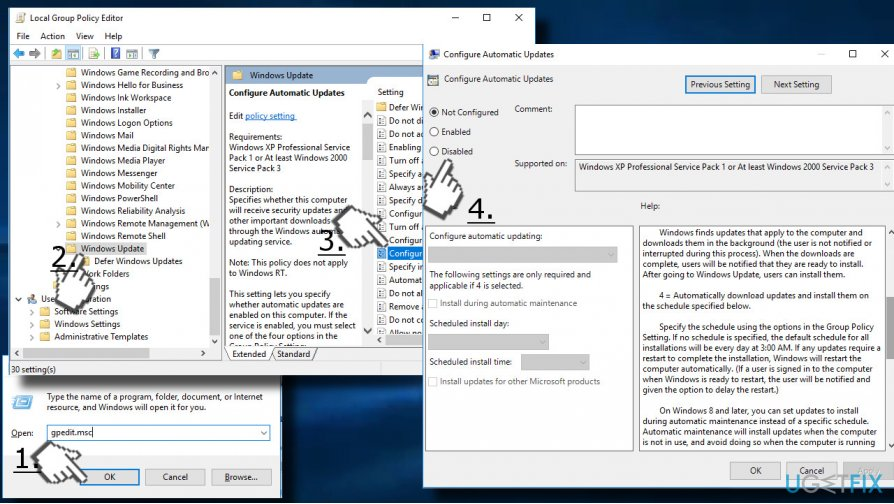 Disable automatic Windows Updates