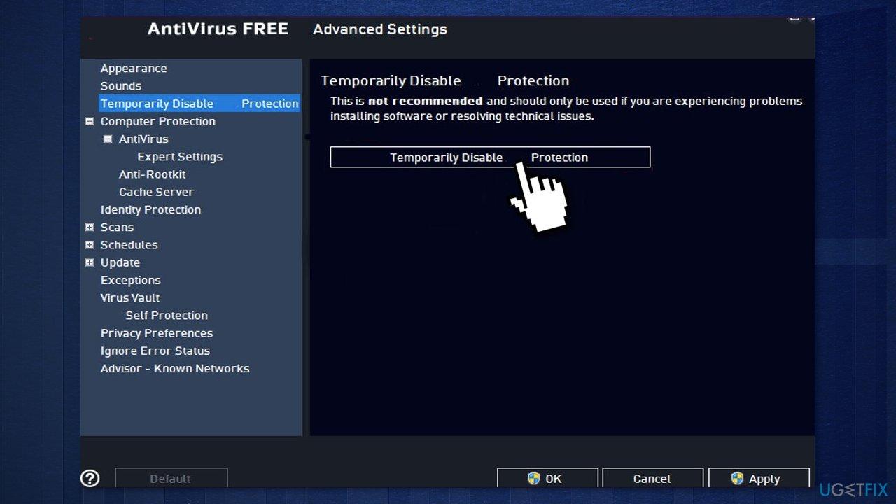 Disable third-party antivirus software