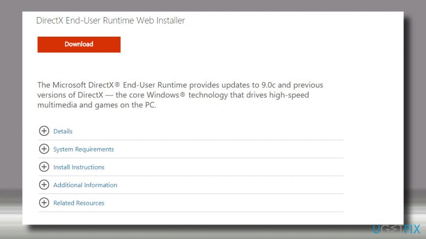 Launch DirectX End-User Runtime Web Installer