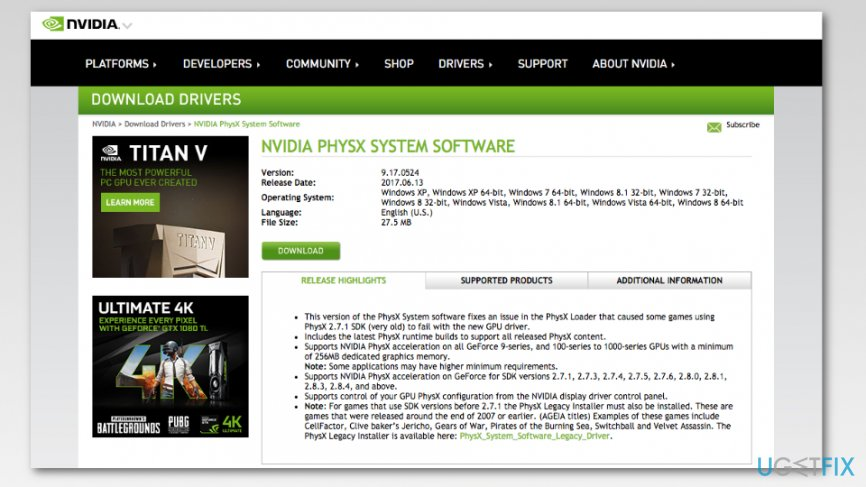 Download NVIDIA PhysX system software