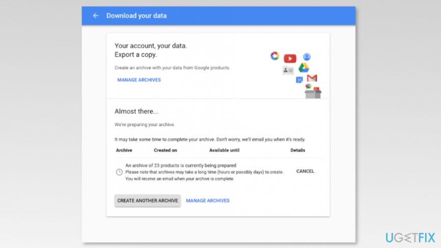 Download your data page
