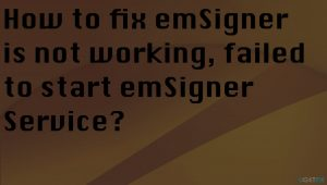 How to fix emSigner is not working, failed to start emSigner Service?