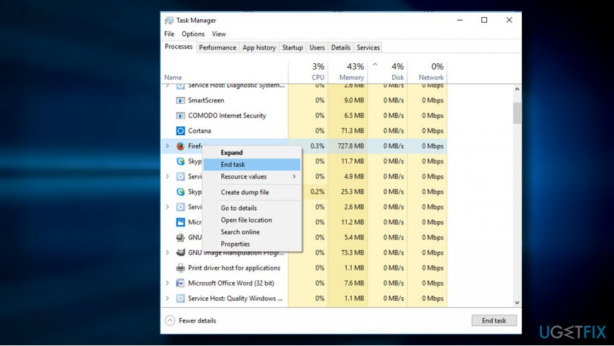 End web browser's process via Task Manager