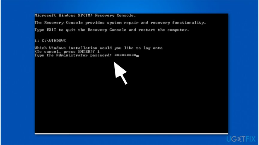 The image of Windows Recovery Console