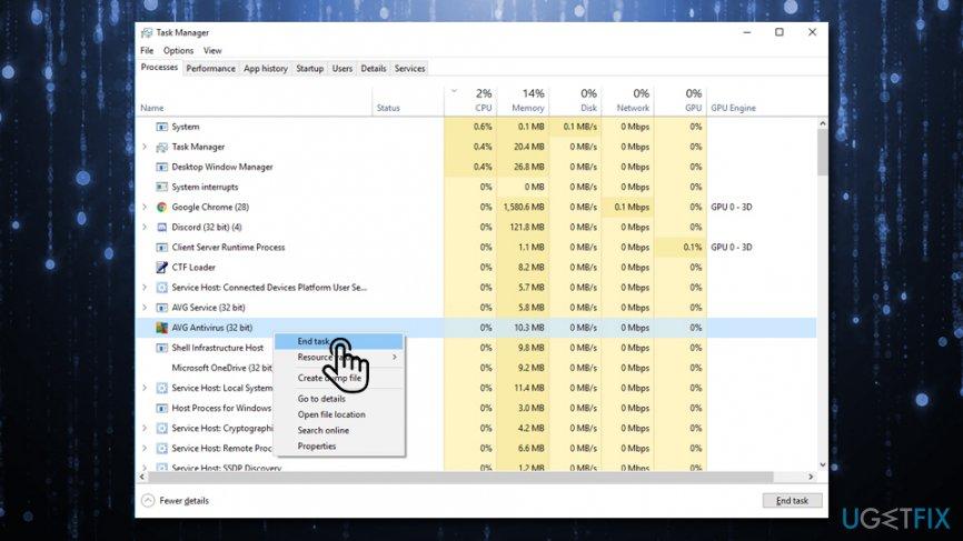 ERR_NAME_NOT_RESOLVED Disable anti-virus software