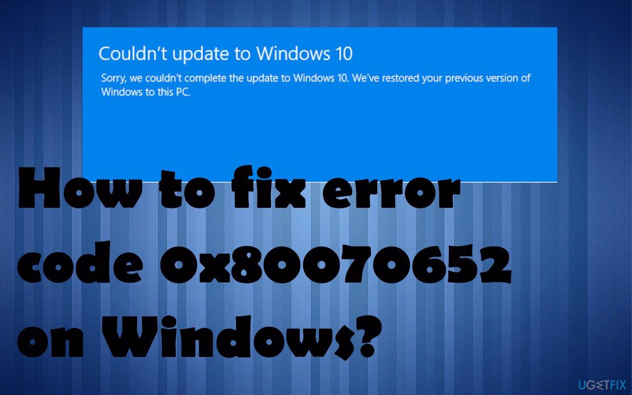 Error code 0x80070652 on Windows