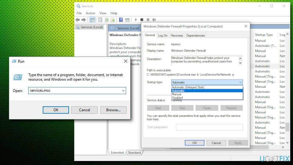 Error 1075 - start services automatically