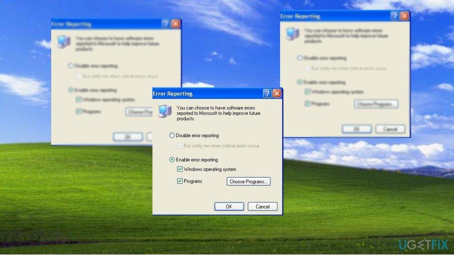 Change Error reporting settings