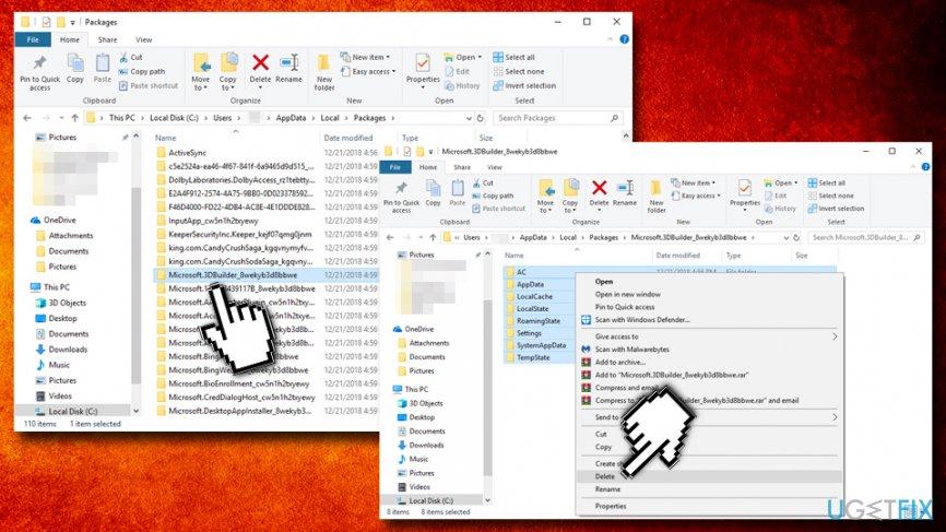 Delete Microsoft.MicrosoftEdge_8wekyb3d8bbwe folder