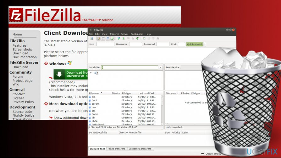 showing FileZilla removal